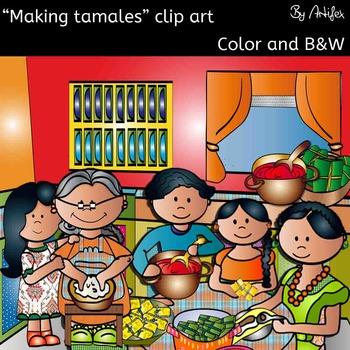Making tamales clip art set- Color/ black&white- 39 items!
