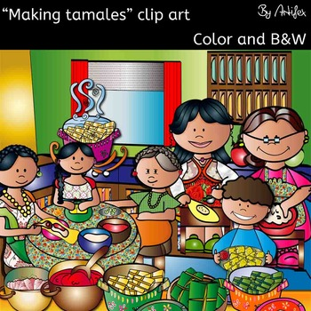 Making tamales clip art set- Color/ black&white- 39 items!