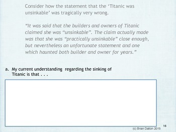Making the Titanic Come to Life Learning Activities