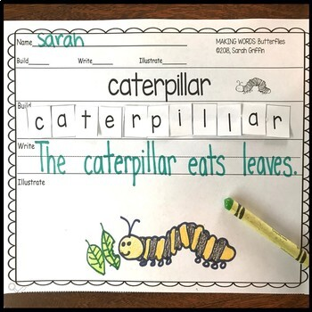 Making words ~ Butterflies ~ Writing Center and Vocabulary Cards