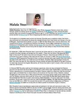 Malala:  Building Background and Making Connections to  a HERO