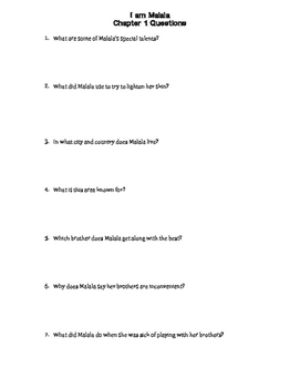 """ I Am Malala""  (Young Readers Edition) Chapter Comprehension Questions"