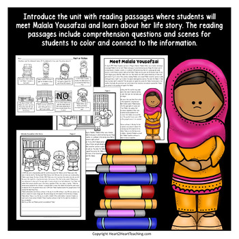 Malala Yousafzai Biography Unit: Articles, Activities for Women's History Month