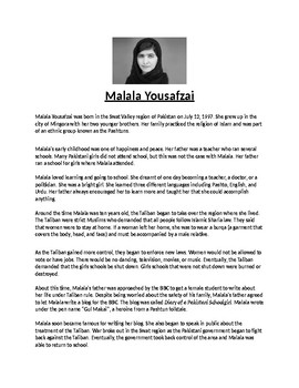 Malala Yousafzai Biography Article and Assignment Worksheet