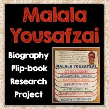 Malala Yousafzai Biography Research Project, Flip Book, Famous Women