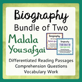 Malala Yousafzai Bundle for Classroom Differentiation Informational Texts & More