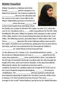 Malala Yousafzai Cloze Activity