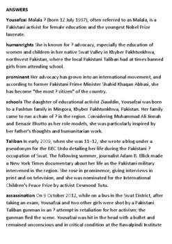 Malala Yousafzai Crossword