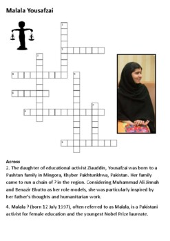 Malala Yousafzai Crossword