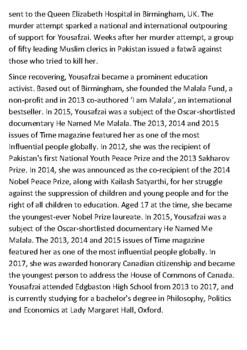 Malala Yousafzai Handout