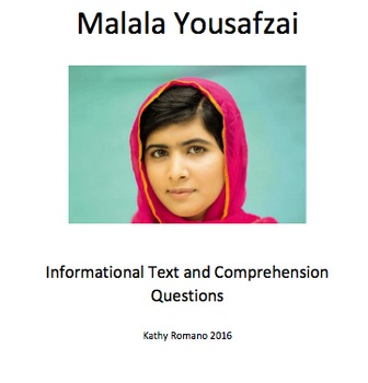 Malala Yousafzai Informational Text and Comprehension Questions