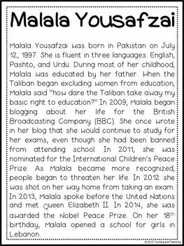Malala Yousafzai Biography Pack (Women's History)