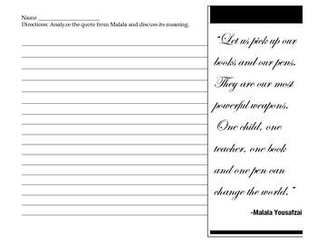 Malala Yousafzai - Quote Analysis