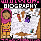 Malala Yousafzai Reading Passage, Biography Report, & Comprehension Activities