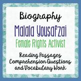 Malala Yousafzai Reading Passages Informational Texts, Activities