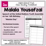 Malala Yousafzai Speech at UN Youth Summit Close Reading W