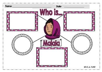 Malala Yousafzai  displays   poster