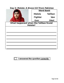 Malala, a Brave Girl from Pakistan: Three Day Close Reading Plan