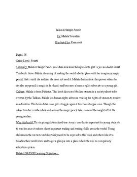 Malala's Magic Pencil Reading and Writing Activity 4th Grade