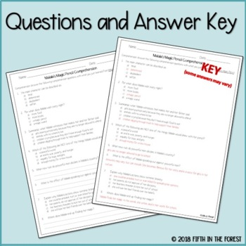 Malala's Magic Pencil Comprehension Questions FREEBIE by ...