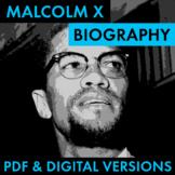 Malcolm X Biography Research Organizer, Malcolm X Easy Bio