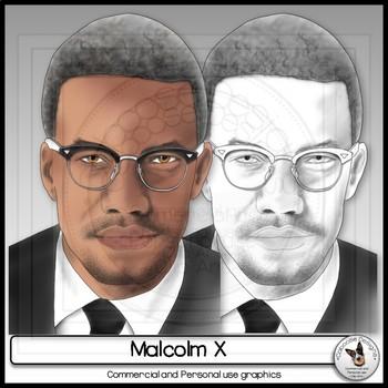Malcolm X Clip Art Civil Rights Leader realistic portrait