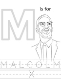 Malcolm X Coloring Sheet