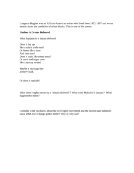 Malcolm X Discussion Assignment