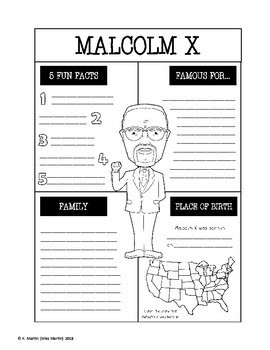 Malcolm X Biography Interactive Notebook Activities