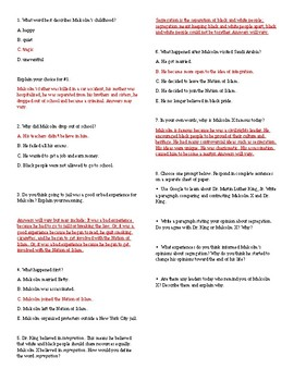 Malcolm X Reading Comprehension and Writing Prompts
