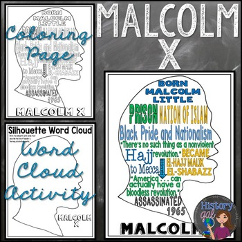 Malcolm X Coloring Page And Word Cloud Activity