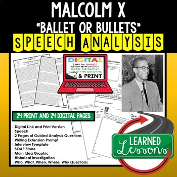 Malcolm X The Ballot or Bullet Speech Analysis and Writing Activity, Google