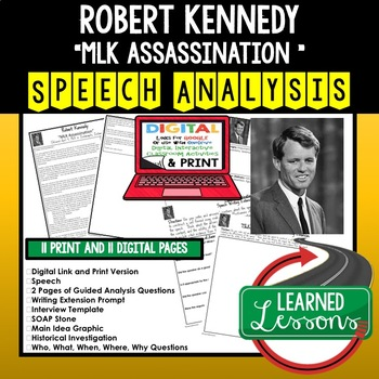 Robert F. Kennedy MLK Assassination Speech Analysis and Writing Activity, Google
