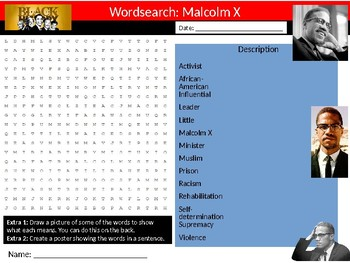 Malcolm X Wordsearch Black History Month Keywords Settler Homework Cover