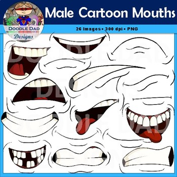 Male Cartoon Mouths Clip Art (Emotions, Happy, Angry, Laughing)