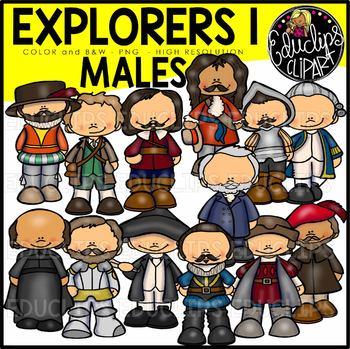Male Explorers Clip Art Bundle  {Educlips Clipart}