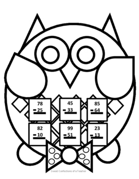 Male Owl Subtraction with No Regrouping