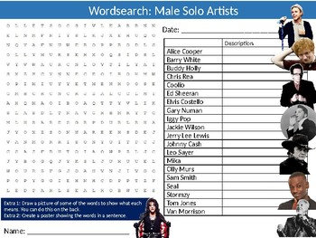 Male Solo Artists Wordsearch Puzzle Sheet Keywords Music Musicians