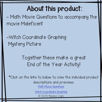 Math Movie Questions and Coordinate Graphing Mystery Picture BUNDLE Halloween