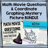 Math Movie Questions and Coordinate Graphing Picture BUNDLE Halloween