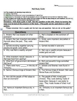 Mali Study Guide