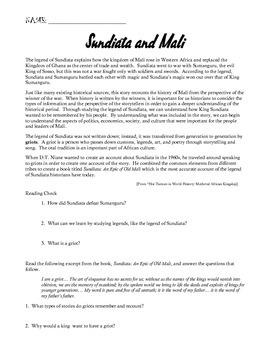 Mali and Epic of Sundiata