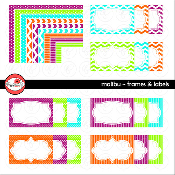 Malibu Frames and Labels Digital Borders Clipart by Poppydreamz