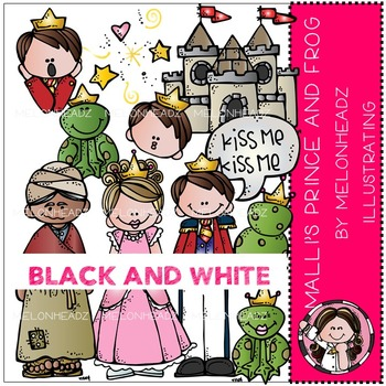 Mallori's Frog Prince clip art - BLACK AND WHITE- by Melonheadz