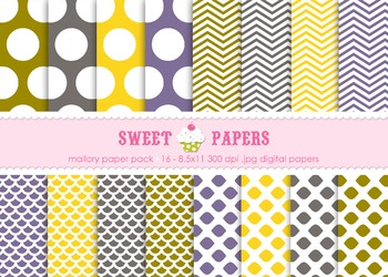 Mallory Yellow Polkadot Scallop Chevron Digital Paper Pack - by Sweet Papers