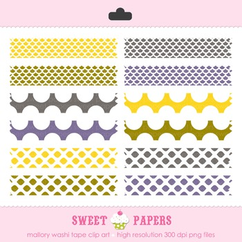 Mallory Yellow and Purple Washi Tape Digital Clip Art Set - by Sweet Papers
