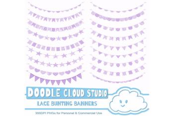 Malva Purple Lace Burlap Bunting Banners Cliparts, multiple lace texture flags