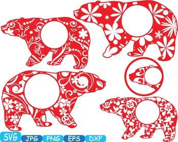 Mama Bear Circle Frames Jungle Animal Safari Flower SVG school Clipart zoo -378s