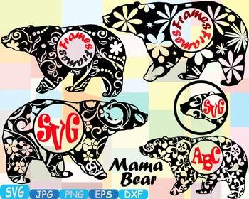 Mama Bear Circle Frames Jungle Animal Safari Flower SVG sc