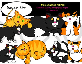 Mama Cat Clipart Pack